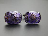 Запонки Винтаж прямоугольные, серебристые с фиолетовым узором в виде капель , фото 1