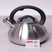 Чайник со свистком 3 л из нержавеющей стали и стеклянной крышкой Kamille 0671А