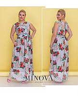 Летнее легкое платье сарафан без рукавов Фабрика Украина ТМ Минова  Размер: (42-44), (46-48), (50-52), (54-56)