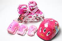 Набор детских Роликовых коньков шлем с Disney персонажами и малиновой защитой Super Power розового и малинового цвета