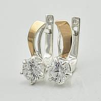 Серебряные серьги с золотыми пластинами 1132 пс, размер 16*6 мм, вставка белые фианиты, вес 3.12 г