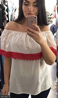 Блуза белый+красный 50-52 54-56