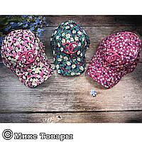 Кепка Шанель с цветами для девочек (объём 54 см) (1224)