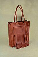 Вместительная кожаная сумка-shopper Fly   Винтажный Коньяк, фото 1
