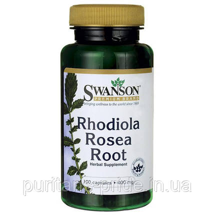 Корень Родиолы,Swanson Rhodiola Rosea Root 400MG 100капс золотой корень, фото 2