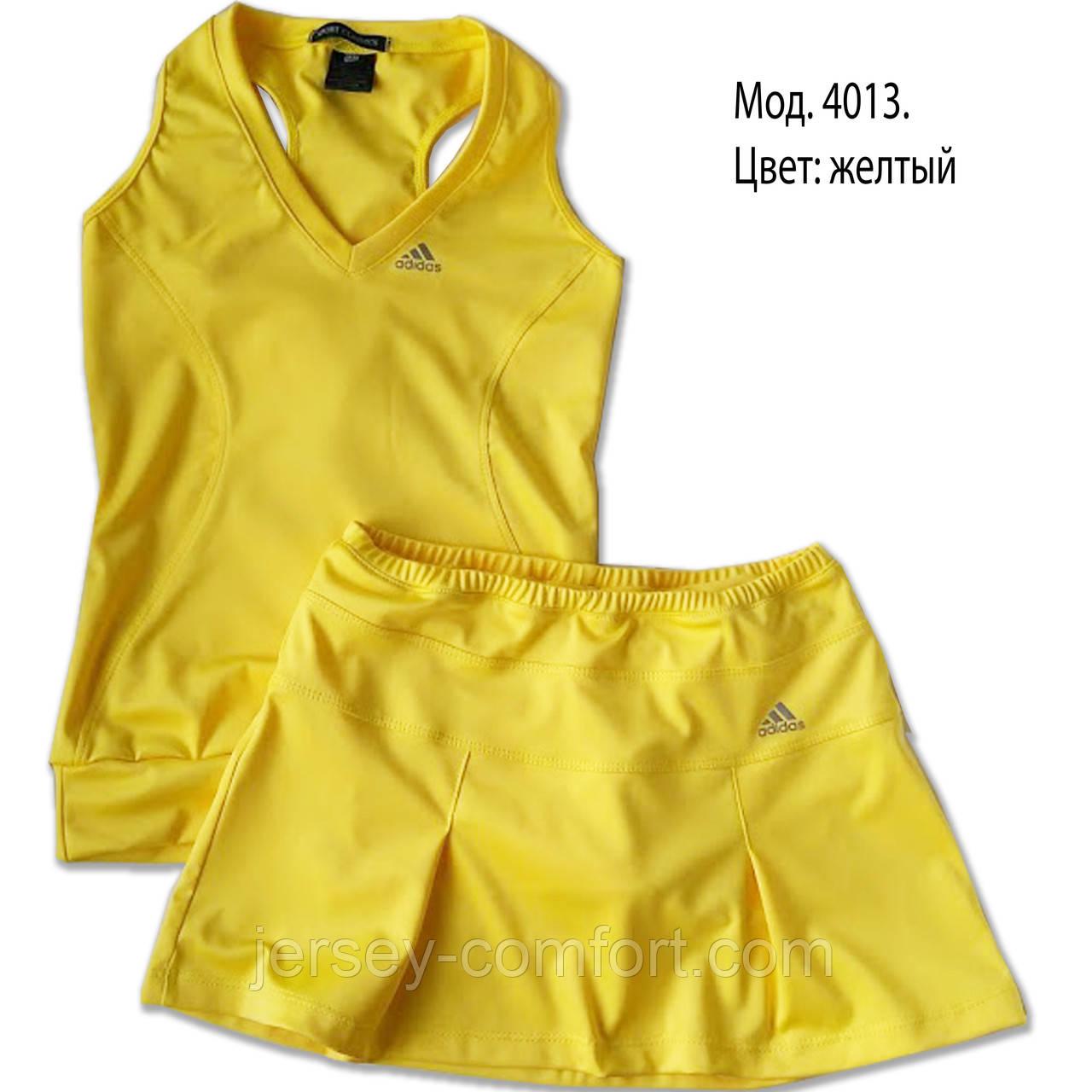 Комплект из эластана. Юбка-шорты и майка, желтая. Мод. 4013. Разные цвета.