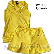 Комплект з еластану. Спідниця-шорти і майка, жовта. Мод. 4013. Різні кольори.