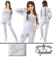 Женский серый спортивный костюм большого размера пр-во Украина 028G