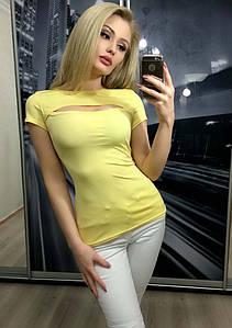 Футболка женская с вырезом на груди ft-255 желтая