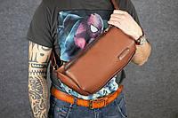 Мужская кожаная сумка-бананка | Италия Орех, фото 1