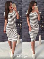Женское платье в полоску до колена