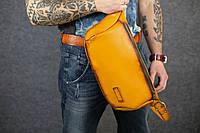 Мужская кожаная сумка-бананка | Италия Янтарь, фото 1