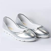 Балетки кожаные  серебро, фото 1