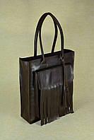 Вместительная кожаная сумка-shopper Fly | Винтажный  Кофе, фото 1