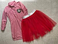 Длинная рубашка платье для девочки подростка с юбкой