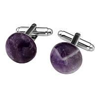 Запонки фиолетовый авантюрин - круглая запонка, для женщин, идеально подойдет к любому мероприятию  , фото 1