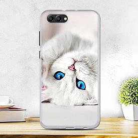 Силиконовый бампер для Huawei honor V10 с рисунком белая кошечка
