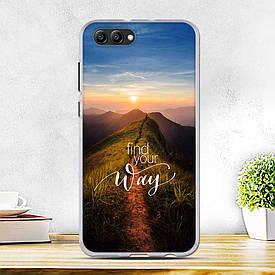Силиконовый бампер для Huawei honor V10 с рисунком в горы