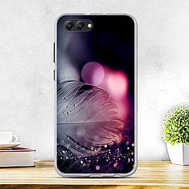 Силиконовый бампер для Huawei honor V10 с рисунком перо с каплями