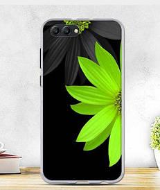 Силиконовый бампер для Huawei honor V10 с рисунком салатовый цветок