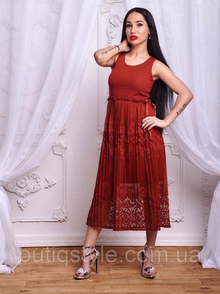 Красивое женское трикотажное платье низ кружево с атласным поясом черное, красное, серое