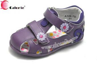 Босоножки Калория A106-7D сердечко сбоку фиолетовый 21-26рр