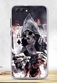 Чехол силиконовый для Huawei honor V10 с картинкой скелет с картой