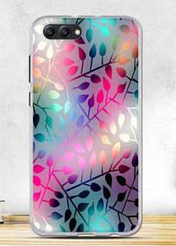 Чехол силиконовый для Huawei honor V10 с картинкой узор листики