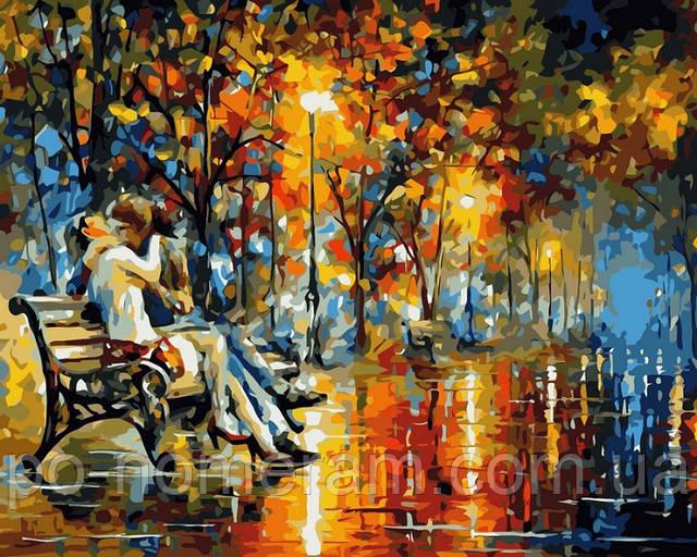 Картина по номерам Поцелуй на скамейке Афремов Леонид