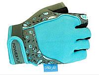 Женские перчатки  для тринажерного зала PowerPlay 1735 голубые