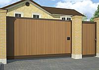 Сдвижные ворота в алюминиевой раме с заполнением сэндвич-панелями DoorHan