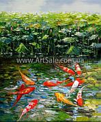 """Купить картину Фен Шуй """"Рыбки в пруду"""""""