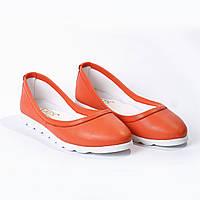 Балетки кожаные оранжевые, фото 1