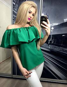 Кофта женская с приспущенными плечами ft-258 зеленая