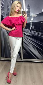 Летняя кофта женская с приспущенными плечами ft-258 малиновая