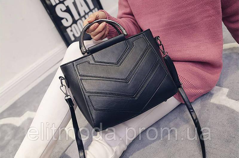1291e4c34b24 Модная женская сумка на плечевом ремне, черного цвета с геометрическим  узором, новинка 2018 года