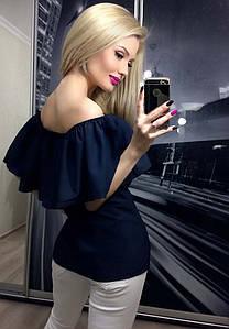 Летняя кофта женская с приспущенными плечами ft-258 темно-синяя