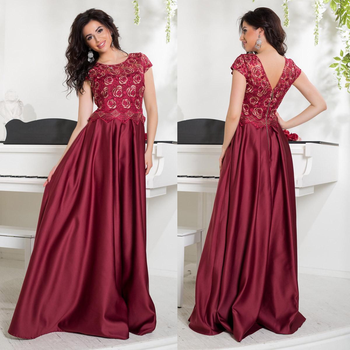 a86ab7f59aa Бордовое атласное выпускное длинное платье