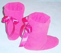 Тапочки сапожки из флиса с бантиками для всей семьи, уютная теплая обувь для всей семьи