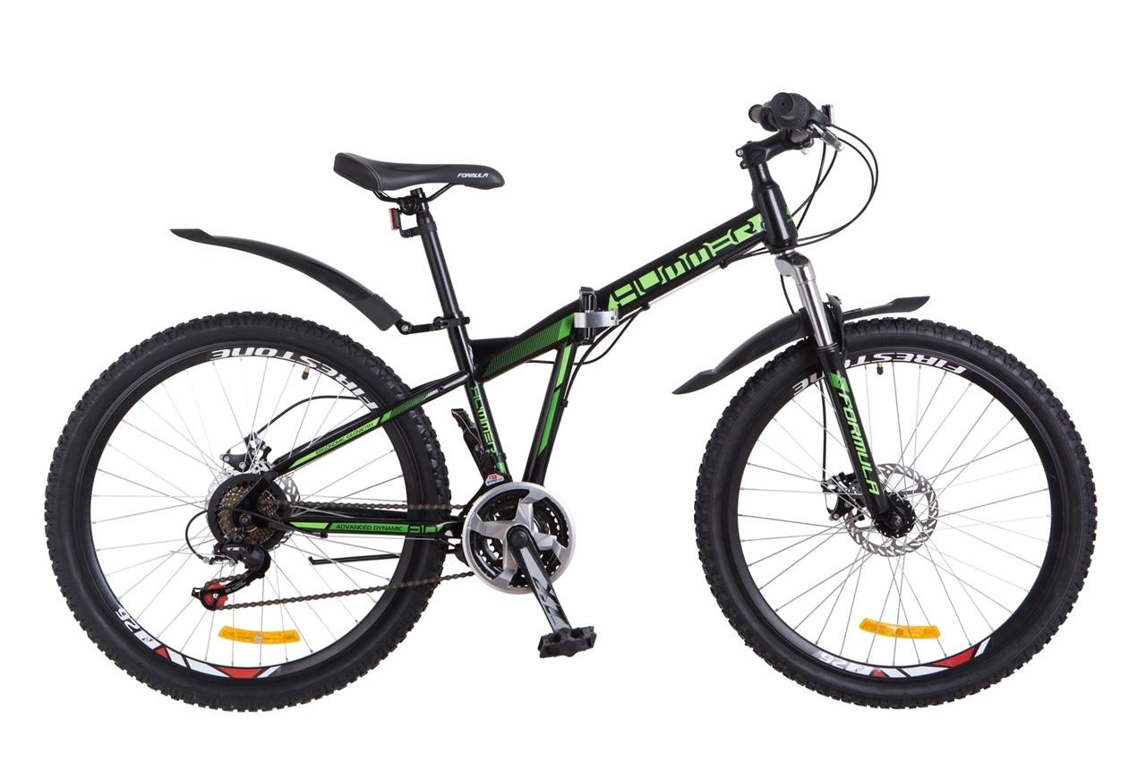 """Горный велосипед 26"""" Formula HUMMER 2018 (черно-синий с зеленым)"""