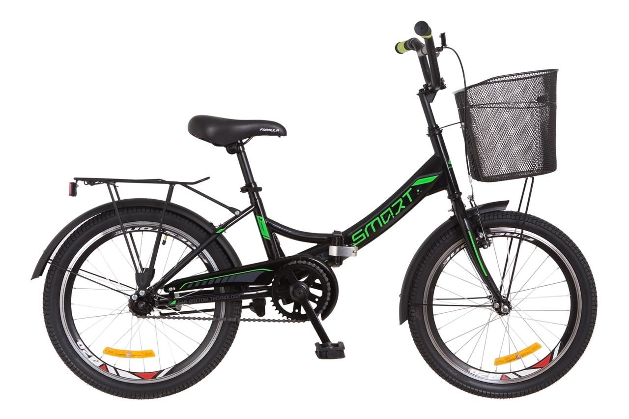 """Складной велосипед 20"""" Formula SMART с корзиной 2018 (черно-зелен.)"""