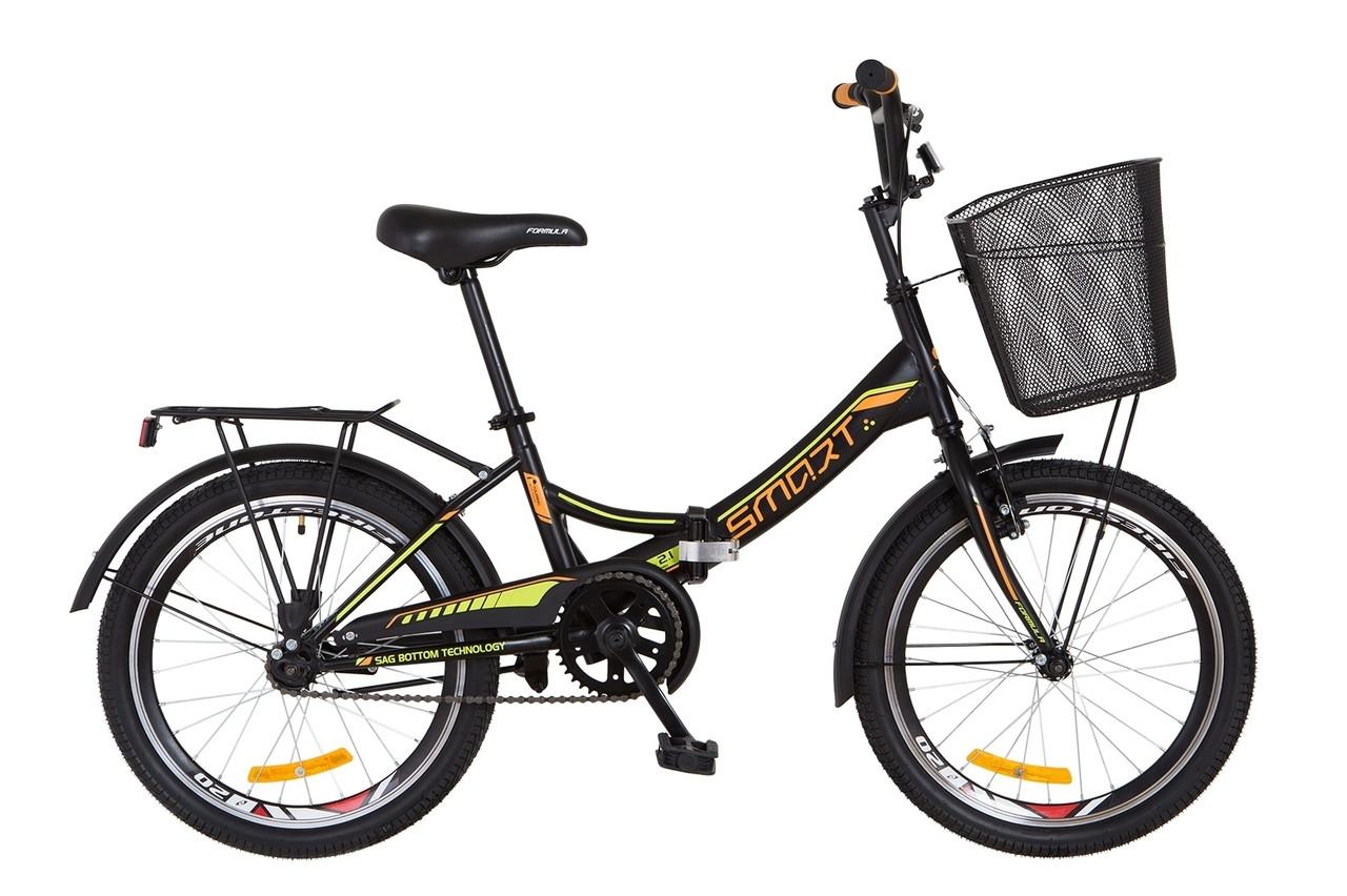 """Складной велосипед 20"""" Formula SMART с корзиной 2018 (черно-оранжевый (м))"""