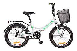 """Складной велосипед 20"""" Formula SMART с корзиной 2018 (бело-зелен.)"""