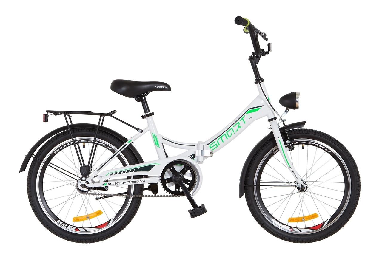 """Складной велосипед 20"""" Formula SMART с фонарём 2018 (бело-зелен.)"""