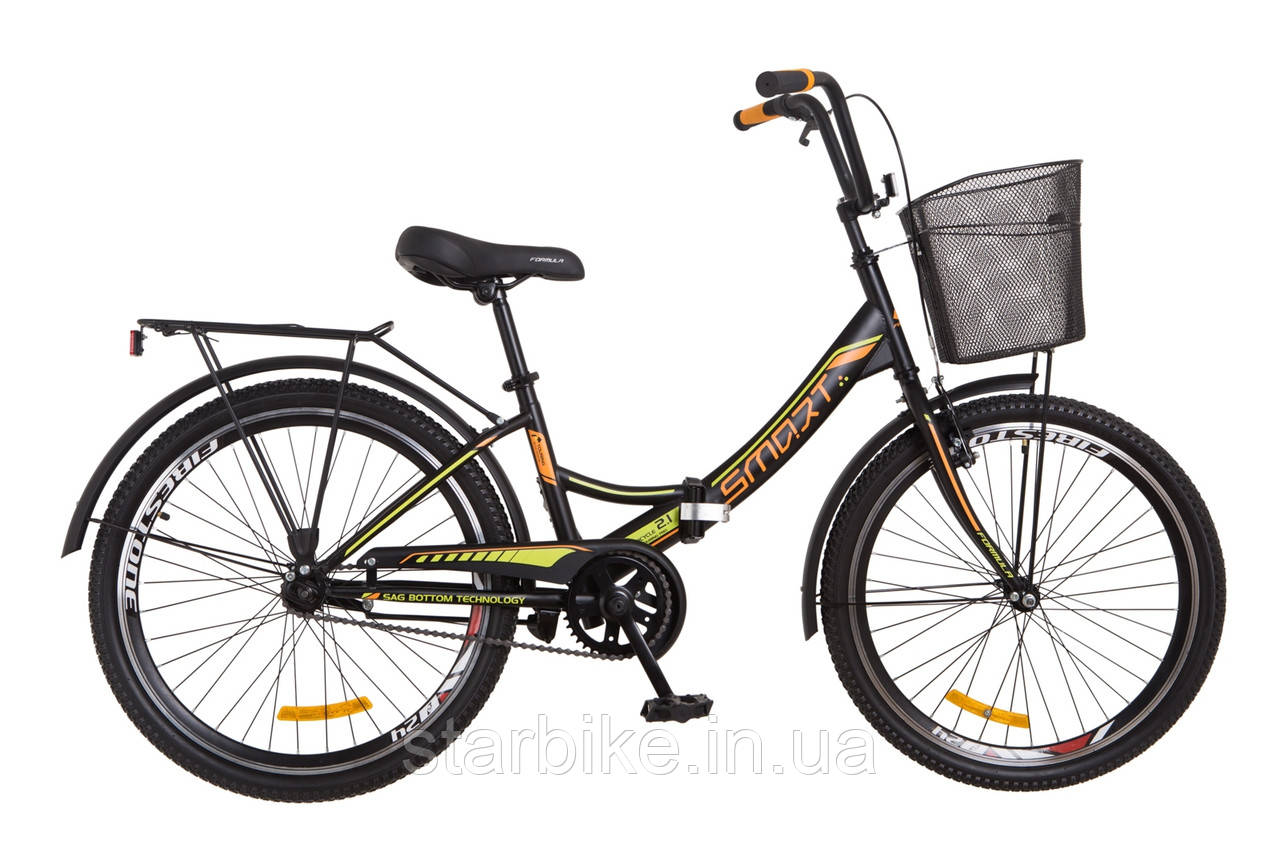 """Складной велосипед 24"""" Formula SMART с корзиной 2018 (черно-оранжевый (м))"""