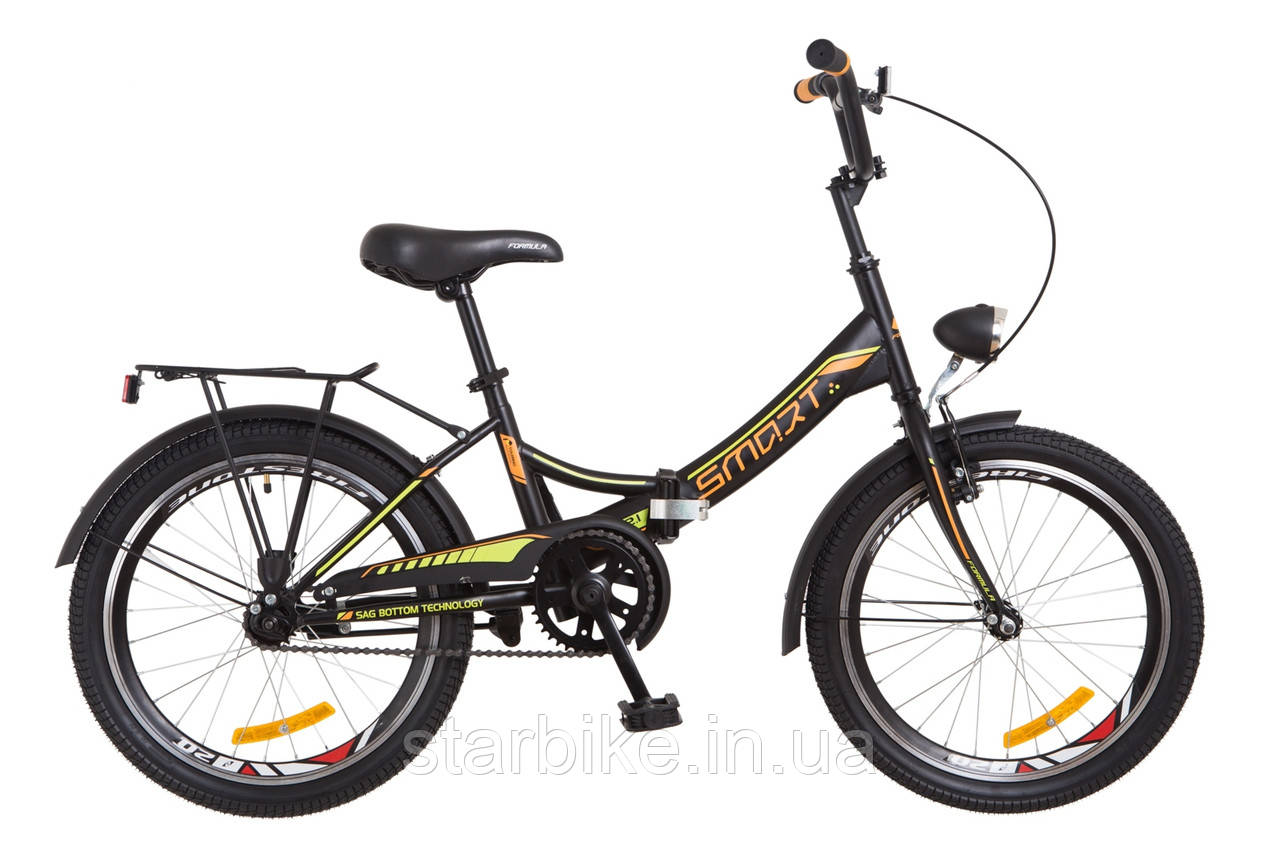 """Складной велосипед 20"""" Formula SMART с фонарём 2018 (черно-оранжевый (м))"""