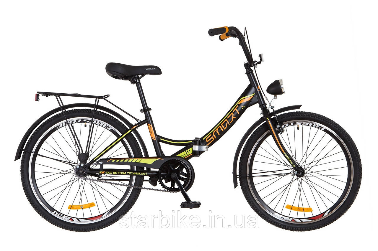 """Складной велосипед 24"""" Formula SMART с фонарём 2018 (черно-оранжевый (м))"""