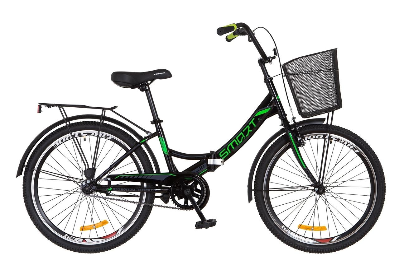 """Складной велосипед 24"""" Formula SMART с корзиной 2018 (сине-белый)"""