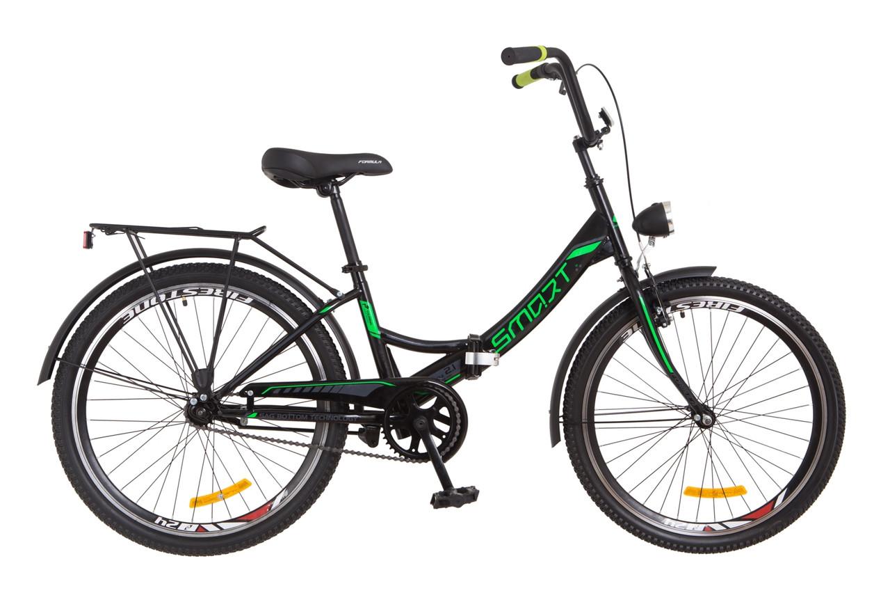 """Складной велосипед 24"""" Formula SMART с фонарём 2018 (черно-зелен.)"""