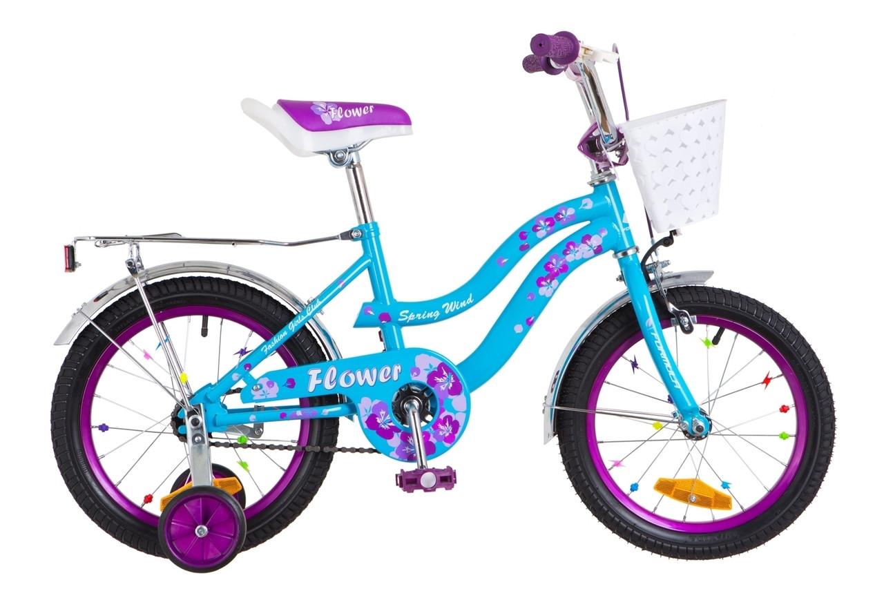 """Детский велосипед 16"""" Formula FLOWER 2018 (голубой с фиолетовым)"""